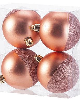 Kerstbal Roze Set 4