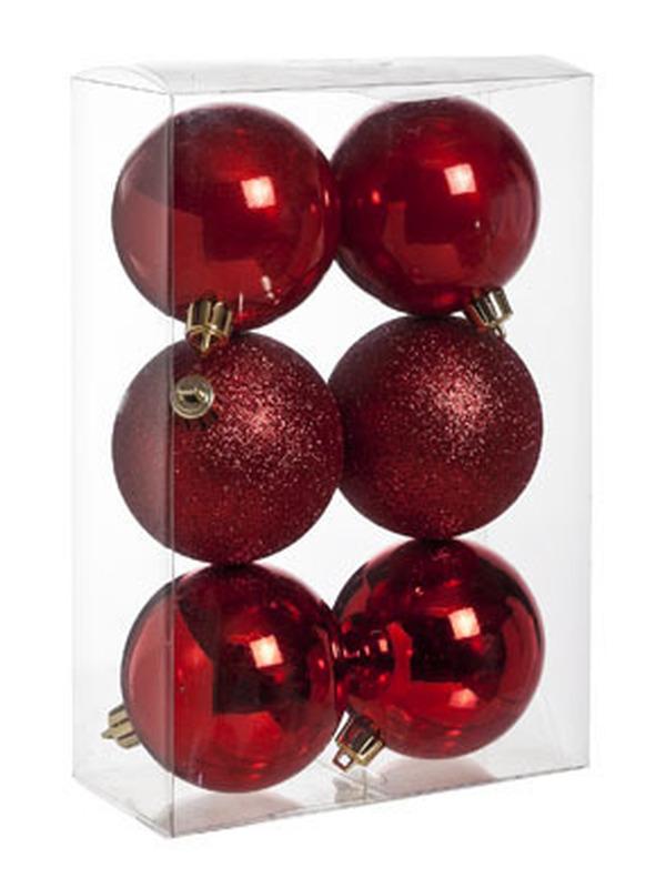 Kerstbal Rood Set 6