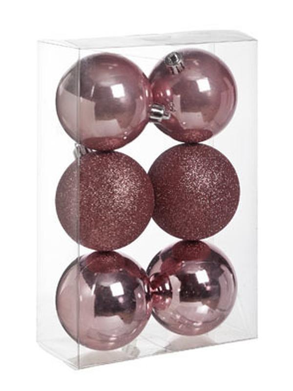 Kerstbal Roze Set 6